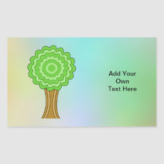 Green Tree. On multicolored background. Rectangle Sticker