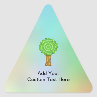 Green Tree. On multicolored background. Triangle Stickers