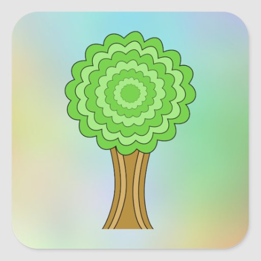 Green Tree. On multicolored background. Stickers