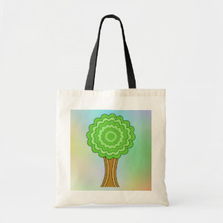 Green Tree. On multicolored background. Tote Bags