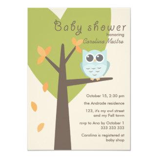 Green Tree Orange Leaves Blue Owl Fall Baby Shower Card