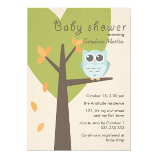Green Tree Orange Leaves Blue Owl Fall Baby Shower Custom Announcements