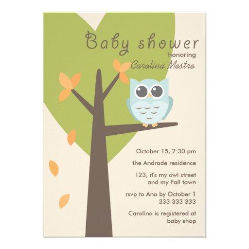 Green Tree Orange Leaves Blue Owl Fall Baby Shower Custom Announcements