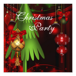Green Tree Ornaments Red Christmas Party Card
