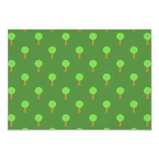 Green Tree Pattern. 3.5x5 Paper Invitation Card