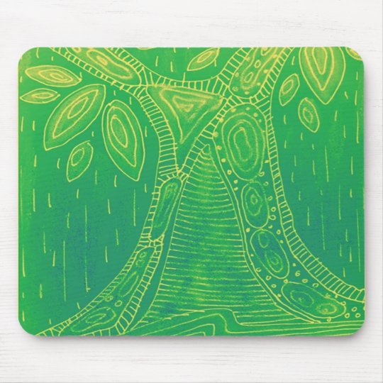 Green tree pattern mouse pad