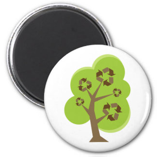Green Tree Recycle 2 Inch Round Magnet