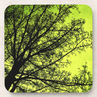 Green Tree Silhouette Cork Coaster set