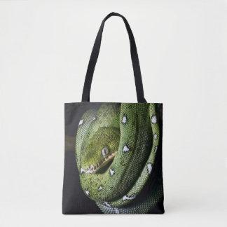 Green tree snake emerald boa in Bolivia Tote Bag