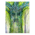 Green Tree Spirit Drawing Post Card