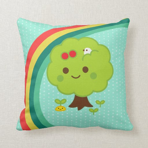 Green Tree Sprouts Throw Pillow