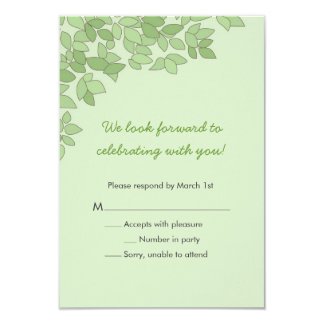 Green Tree Wedding Response Card