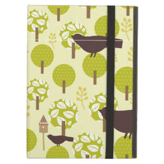 Green trees and brown birds ipad cases