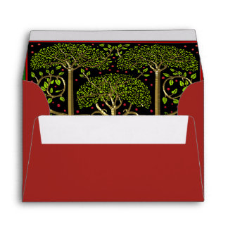 Green Trees,Gold Trunks,Red Poinsettia Personalize Envelope