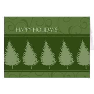 Green Trees Happy Holidays Christmas Card