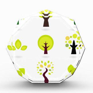 Green trees on white acrylic award