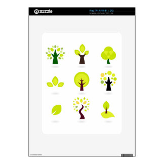 Green trees on white decals for iPad