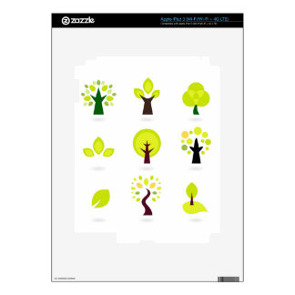 Green trees on white decals for iPad 3