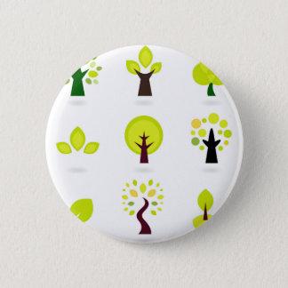 Green trees on white pinback button