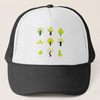 Green trees on white trucker hat