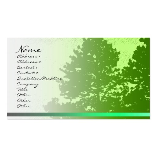 Green Trees Profile Card Business Card Templates