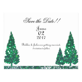 Green Trees Save the date Postcard
