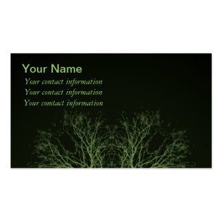Green Treetops on Black Background Business Cards