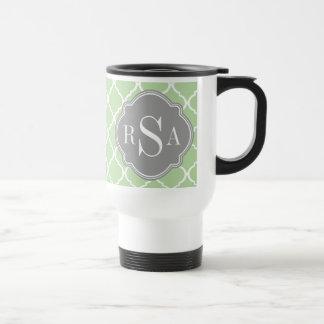 Green Trellis Pattern Gray Monogram Trio Mugs