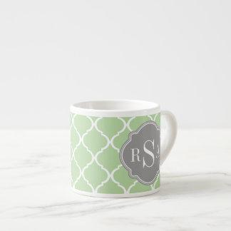 Green Trellis Pattern Gray Monogram Trio Espresso Cup