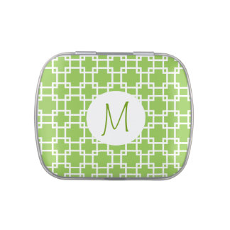 Green Trellis with Monogram Jelly Belly Tin
