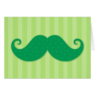 Green trendy hipster mustache greeting card