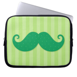 Green trendy hipster mustache laptop sleeve