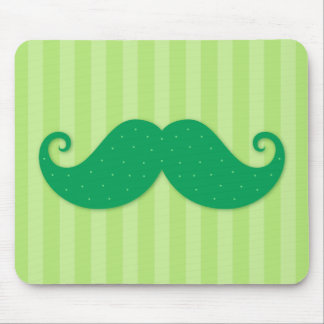 Green trendy hipster mustache mouse pad