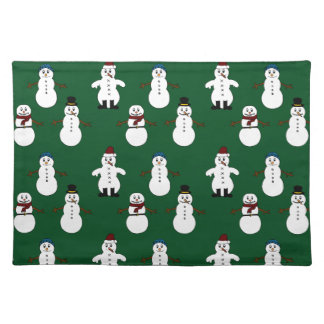 Green Trendy Placemat white cute snowman Christmas