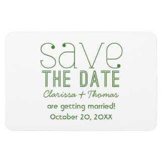 Green Trendy Typography Save the Date Magnet