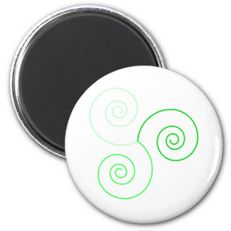 Green Tri-Color Spiral of Life 2 Inch Round Magnet