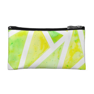 Green Triangle Cosmetic Bag at Zazzle