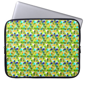 Green triangle mosaic computer sleeve