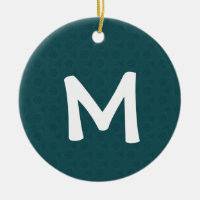 Green Triangles Pattern Monogram M Holiday Gift Ceramic Ornament