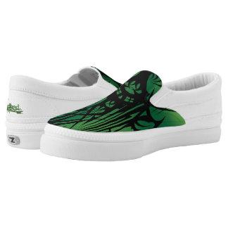 Green Tribal Canvas Slip-Ons