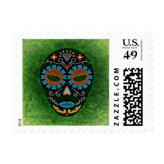 Green Tribal Day of the Dead Abstract Mask Stamp