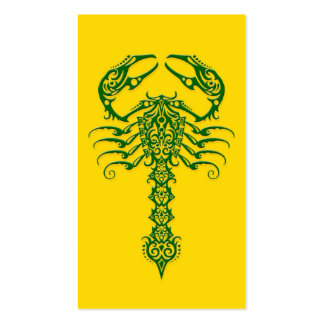 Green Tribal Scorpion on Yellow Business Card Templates