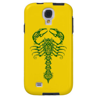 Green Tribal Scorpion on Yellow Galaxy S4 Case