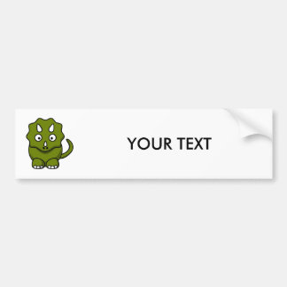 Green Triceratops Cartoon Bumper Sticker