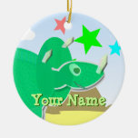 Green Triceratops Cartoon Dinosaur Name Ornament
