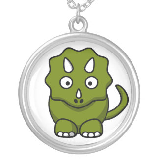 Green Triceratops Cartoon Necklace