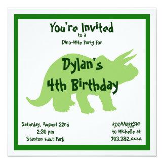 "Green Triceratops Dinosaur Birthday Invitations 5.25"" Square Invitation Card"