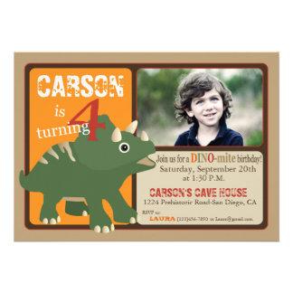 Green Triceratops Dinosaur Fourth Birthday Personalized Invites