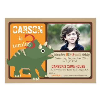 Green Triceratops Dinosaur Third Birthday 5x7 Paper Invitation Card