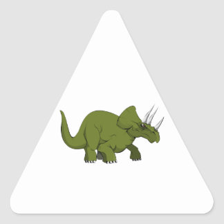Green Triceratops Dinosaur Triangle Sticker